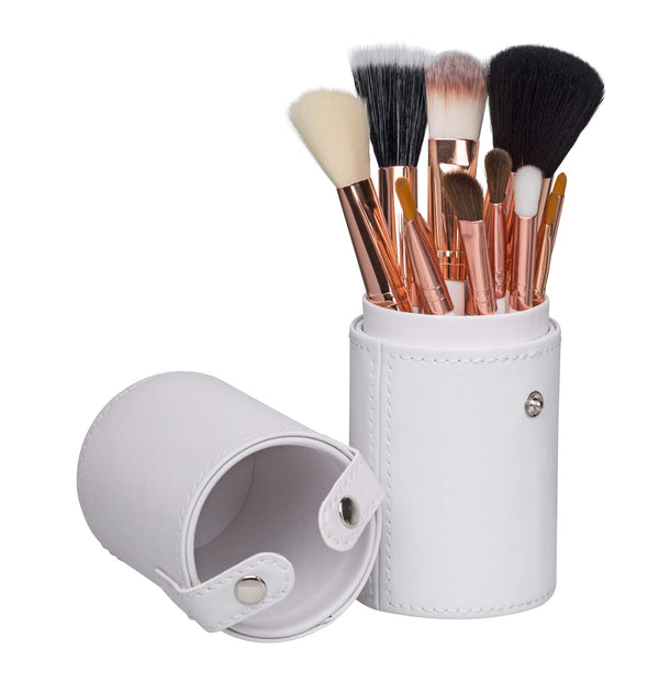 12 Piece Professional Makeup Brush Set with White Case