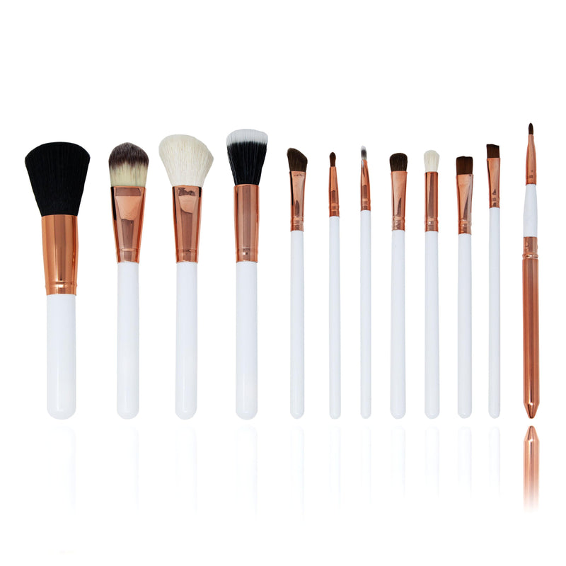 12 Piece Professional Make-up Brush Set  - White and Rose Gold - ZOË AYLA