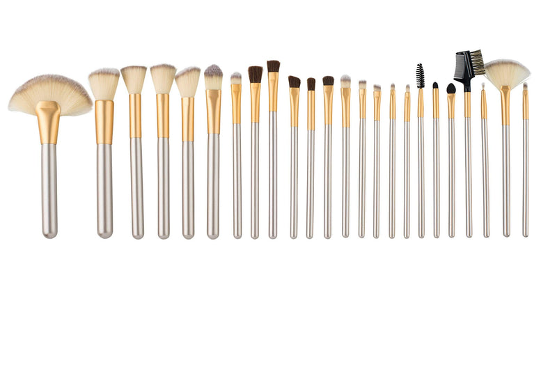 24 Piece Makeup Brush Set with Travel Case-zoeayla.