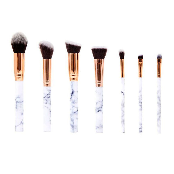 7 Piece Marble Effect Make Up Brush Set - With Vegan Leather Pouch - White - Marble