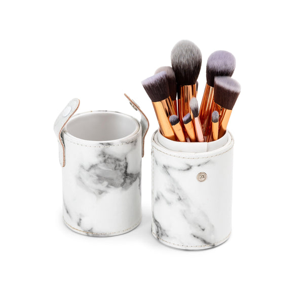 10pc Makeup Brush set with Cylindric Case - Marble print - ZOË AYLA