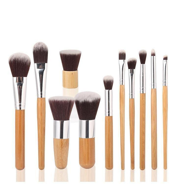 11 Piece Bamboo Makeup Brush Set with Travel Bag - ZOË AYLA