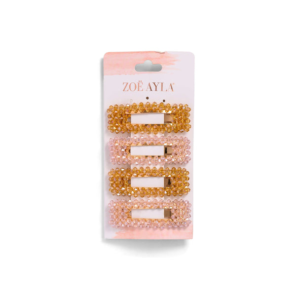 4-Pack Gemstones Hair Clips - Orange and Pink-zoeayla.