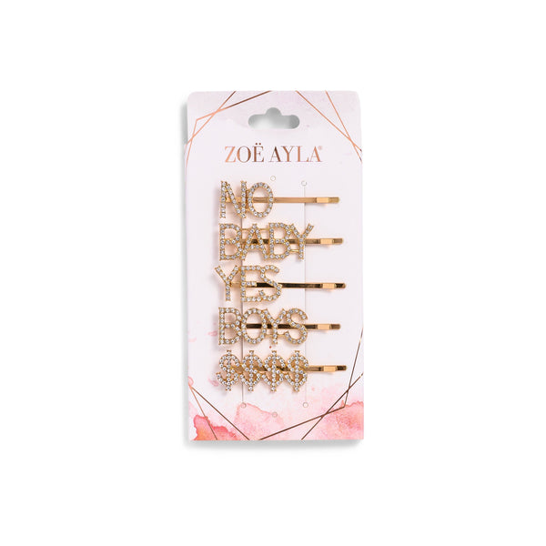 5-Pack Golden Rhinestone Bobby Pins-zoeayla.