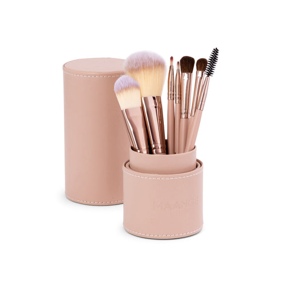7pc Makeup Brush Set + Cylindric Case-zoeayla.