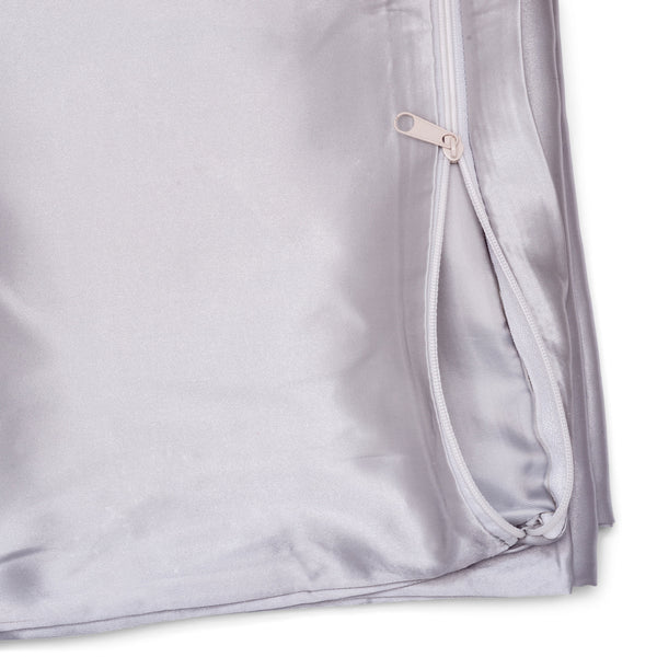 Silky Satin Pillowcase - Standard Size, Light Grey - ZOË AYLA
