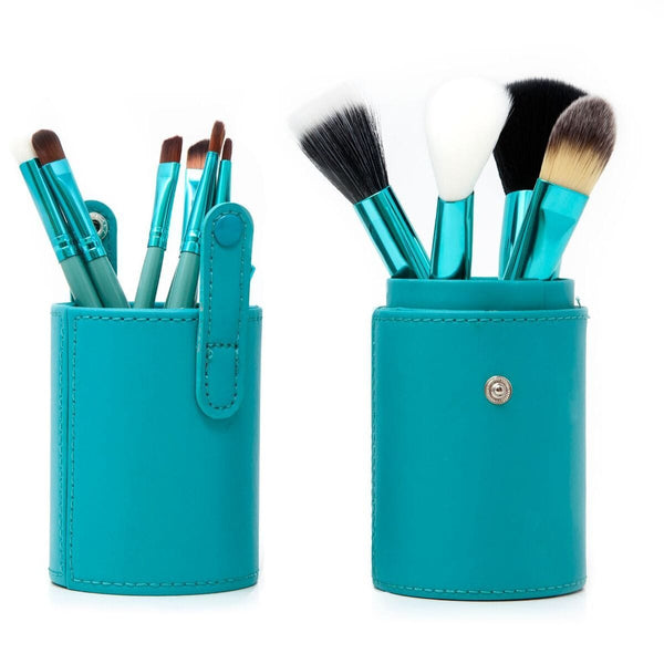 12 Piece Makeup Brush Set - Turquoise - ZOË AYLA