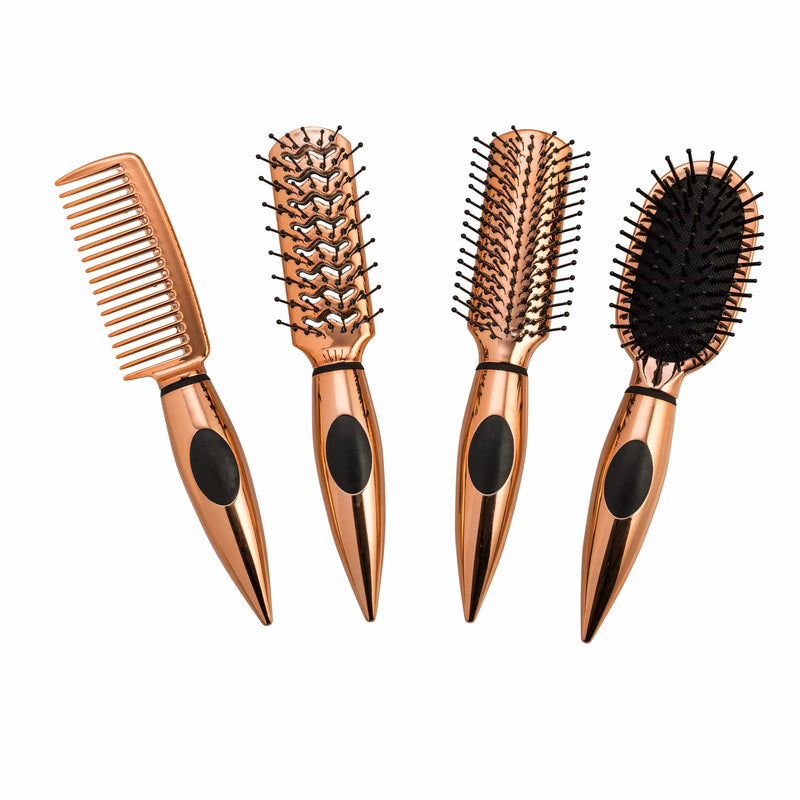Essential Travel Mini Hair Brush Set - Rosegold - ZOË AYLA