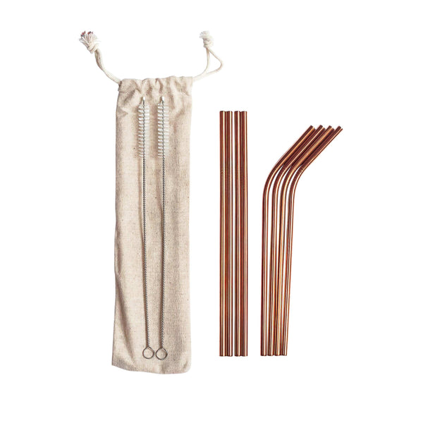 Rosegold Stainless Steel Straw Set-zoeayla.