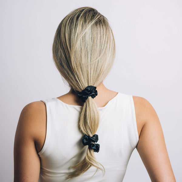 Silky Sleep Scrunchies 5-Pack (Black)-zoeayla.