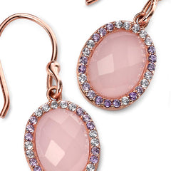 Rose quartz and cubic zirconia crystal drop earrings