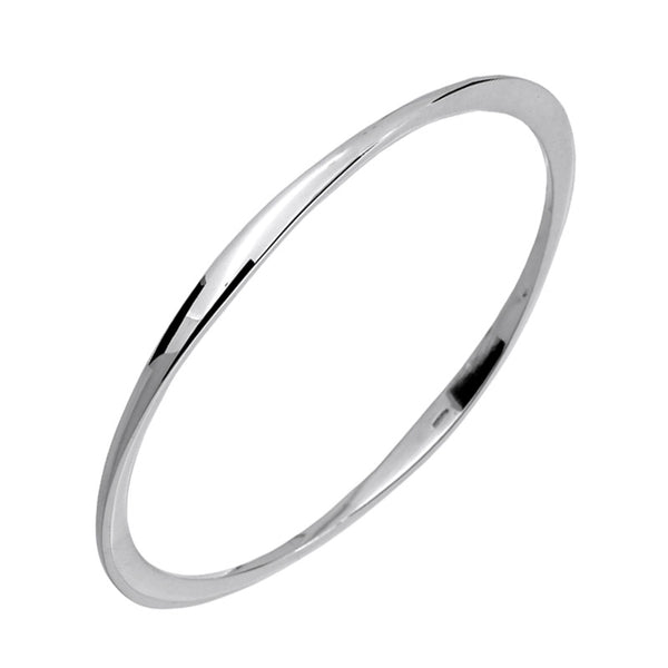 Oval Polished Silver Flat Edge Bangle from the Bangles collection at Argenteus Jewellery