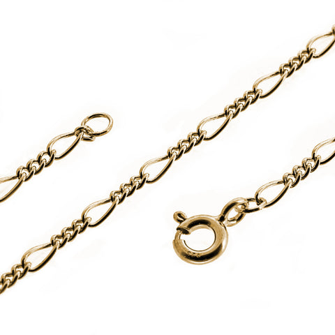 9ct yellow gold 3 & 1 figaro chain necklace
