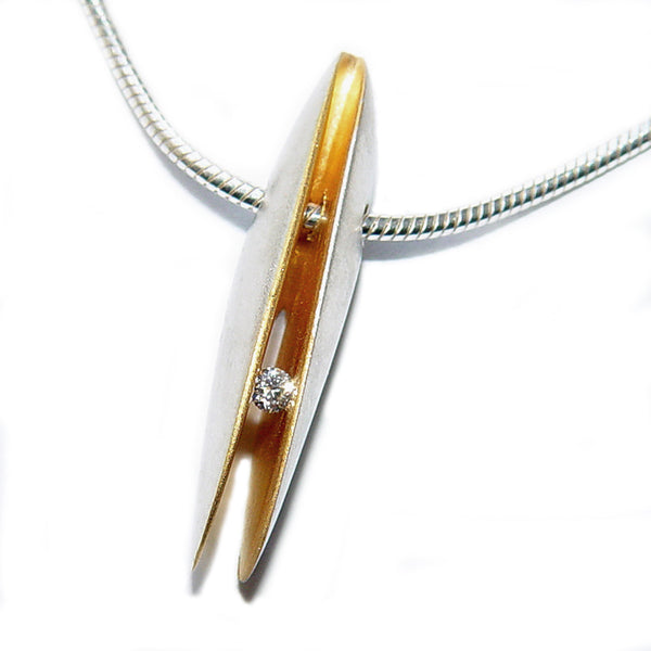 Paul Finch - Diamond (3pt) Shell Shape Drop Necklet from the Necklaces collection at Argenteus Jewellery