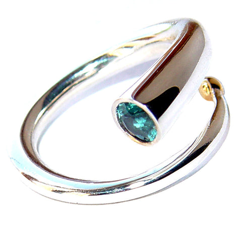 Paul Finch - Blue Topaz 18ct Gold Detail Spiral Ring