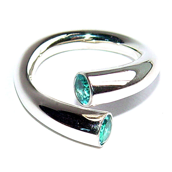 Paul Finch - Blue Topaz Crossover Ring from the Rings collection at Argenteus Jewellery