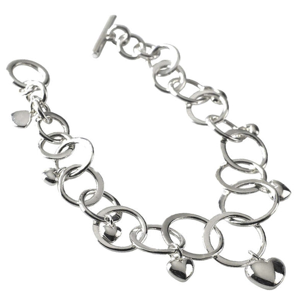 Multi Rings & Hearts Charm Bracelet from the Bracelets collection at Argenteus Jewellery