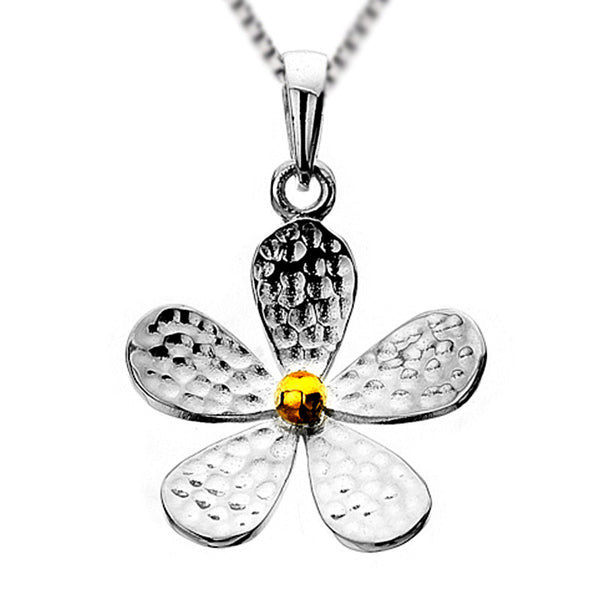 Daisy Drop Necklet - Hammer Finish from the Necklaces collection at Argenteus Jewellery