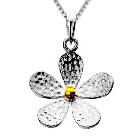 Daisy Drop Necklet - Hammer Finish