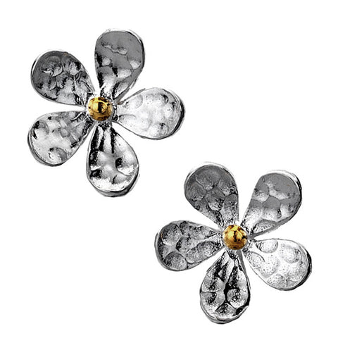 Daisy Stud Earrings - Hammer Finish