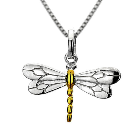Silver And Gold Plated Dragonfly Necklace from the Necklaces collection at Argenteus Jewellery