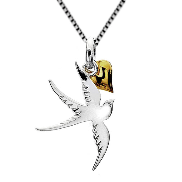 Swallow And Heart Necklace from the Necklaces collection at Argenteus Jewellery