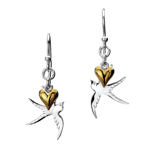 Swallow And Heart Earrings from the Earrings collection at Argenteus Jewellery