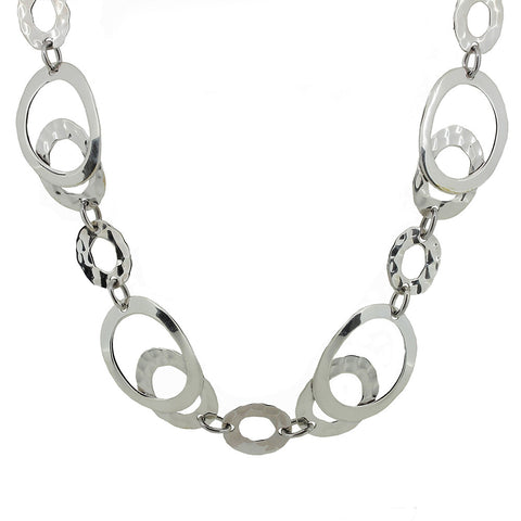 Ovals Necklace - Hammer Finish from the Necklaces collection at Argenteus Jewellery