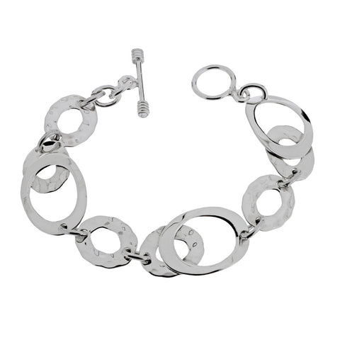 Ovals Bracelet - Hammer Finish from the Bracelets collection at Argenteus Jewellery