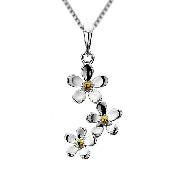 Daisies Trio Drop Necklet from the Necklaces collection at Argenteus Jewellery