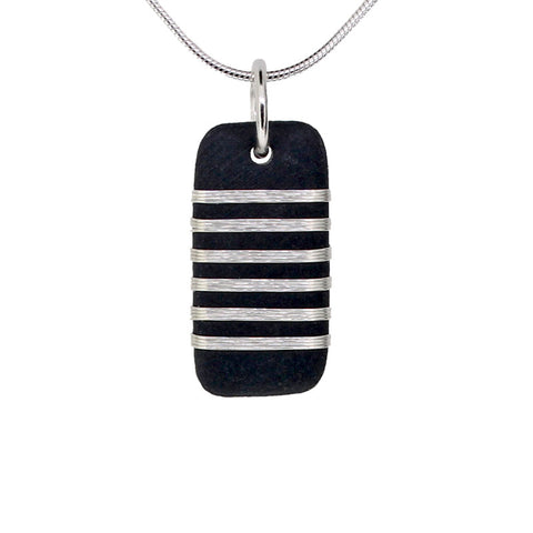 Tracey Birchwood - 17mm Drop Fine Bands Necklet from the Necklaces collection at Argenteus Jewellery