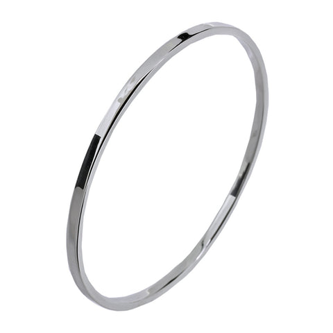 Polished Plain Silver Flat Edged Bangle from the Bangles collection at Argenteus Jewellery