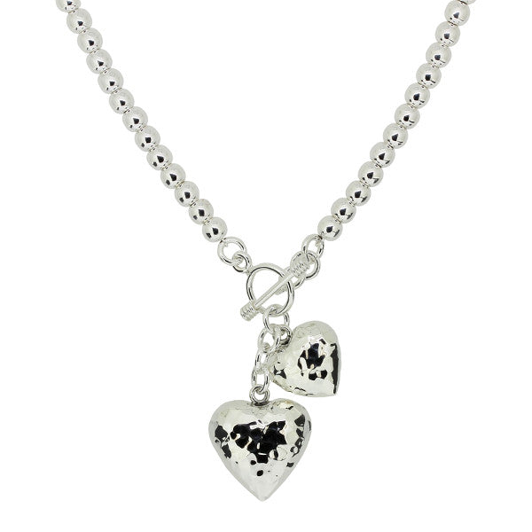 Heart Drop Necklace - Hammer Finish from the Necklaces collection at Argenteus Jewellery