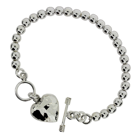 Heart Bracelet - Hammer Finish