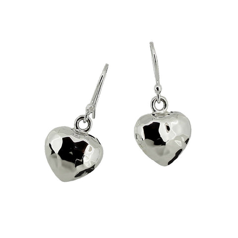 Heart Drop Earrings - Hammer Finish from the Earrings collection at Argenteus Jewellery