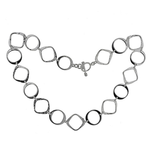 Textured Squares & Circles Necklet
