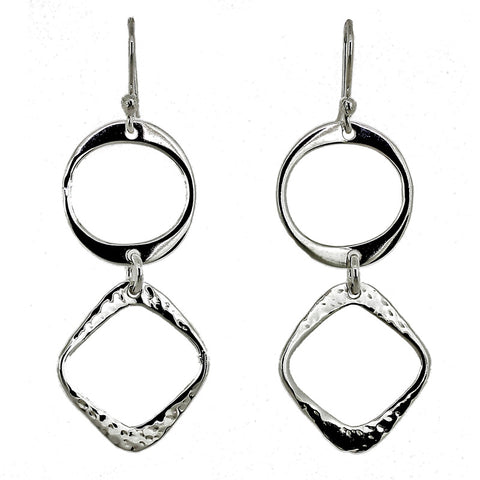 Textured Squares & Circles Earrings from the Earrings collection at Argenteus Jewellery