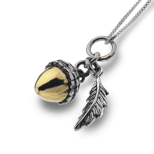 Acorn And Oak Leaf Necklace from the Necklaces collection at Argenteus Jewellery