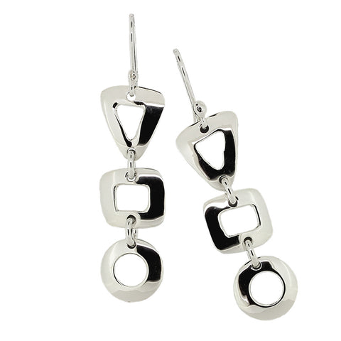 Circle, Triangle and Square Drop Earrings from the Earrings collection at Argenteus Jewellery