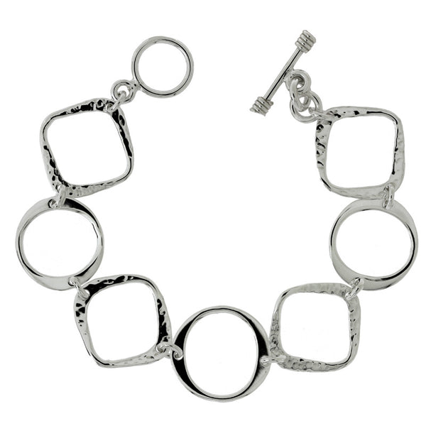 Textured Squares & Circles Bracelet from the Bracelets collection at Argenteus Jewellery