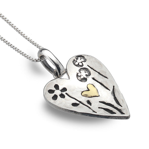 Etched Sterling Silver Heart Necklace from the Necklaces collection at Argenteus Jewellery