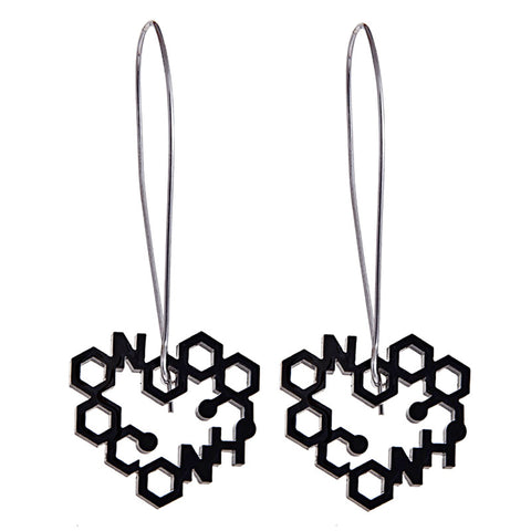 Black perspex heart long drop earrings