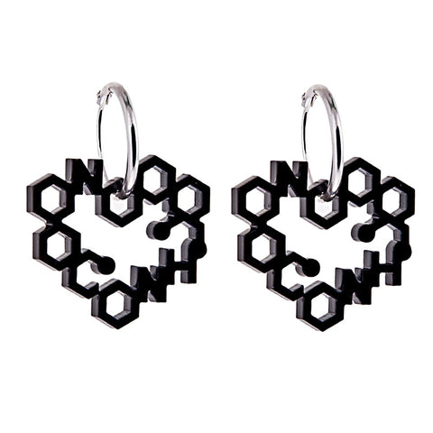 Black perspex heart drop earrings