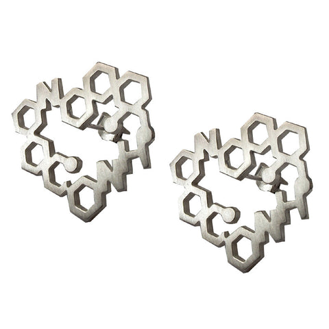 Heart stud earrings from the Earrings collection at Argenteus Jewellery