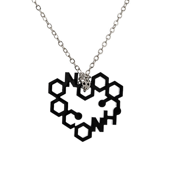 Black perspex heart drop necklace from the Necklaces collection at Argenteus Jewellery