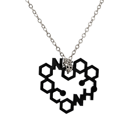 Black perspex heart drop necklace