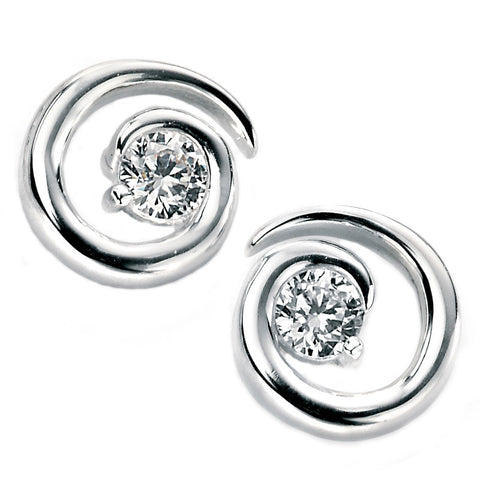 Cubic Zirconia Spiral Stud Silver Earrings from the Earrings collection at Argenteus Jewellery