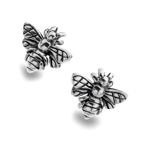 Oxidised Sterling Silver Bee Stud Earrings