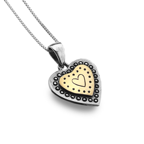Sterling Silver Dot Pattern Heart Necklace from the Necklaces collection at Argenteus Jewellery