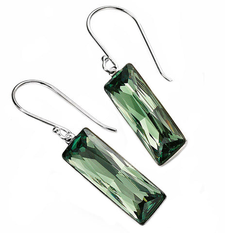 Summer Green Swarvoski Rectangle Earrings from the Earrings collection at Argenteus Jewellery